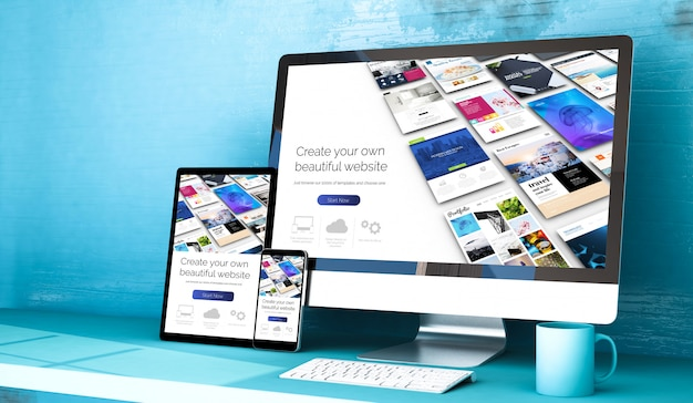 Responsive devices with website builder home on blue studio