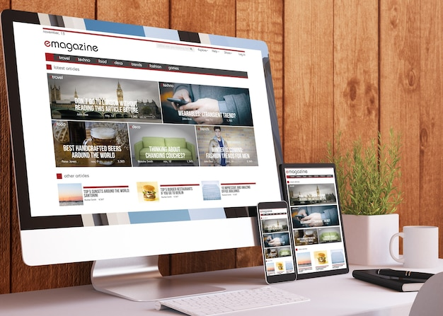 Responsive devices on wooden studio e-magazine website 3d rendering