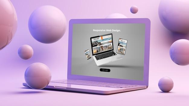 Responsive web design on computer 3d rendering