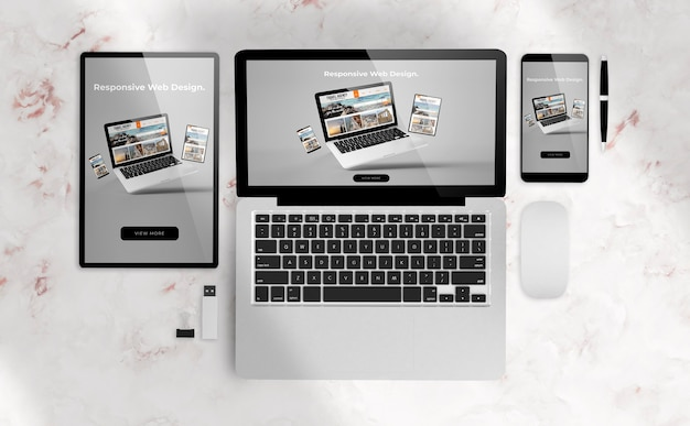 Адаптивный веб-дизайн на устройствах 3d-рендеринга