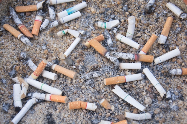The rest of cigarettes in the ashtray