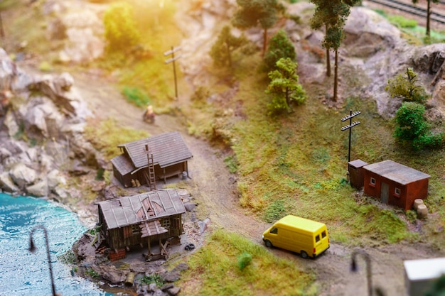 Rest on the lake with tents in miniature