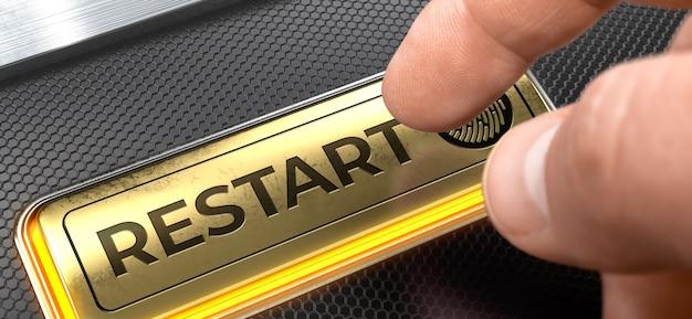Restart written on the golden button of interface keyboard.
