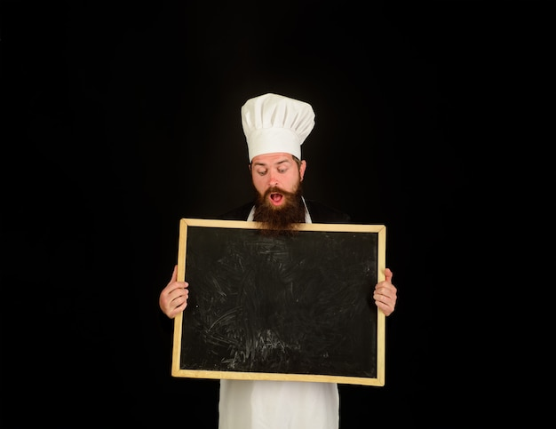 Restaurant chef show empty chalkboard advertising chef menu blank chalkboard with copy space for