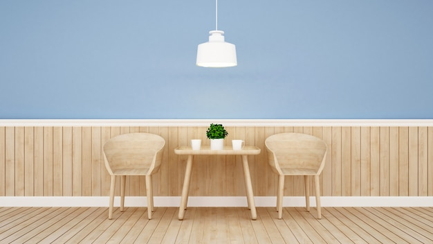Restaurant or coffee shop on blue wall design