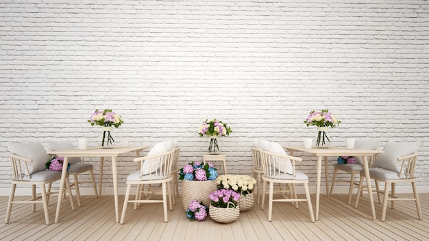 Restaurant or coffee shop decoration flower- 3d rendering