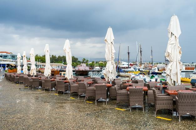 Restaurant furniture after rain