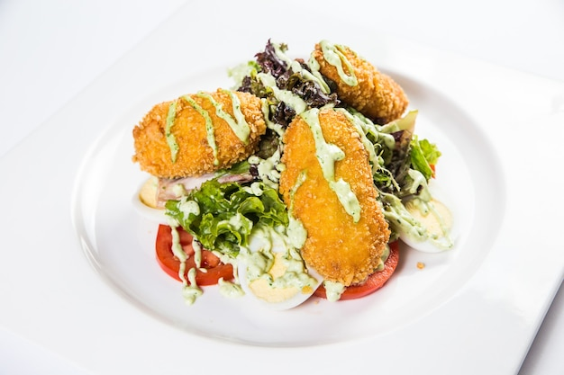 Restaurant healthy food delivery, salad, second dish or first dish on white surface