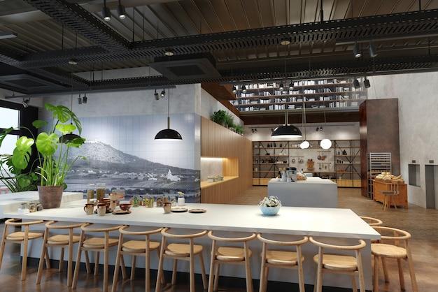 레스토랑, 인테리어 시각화, 3d