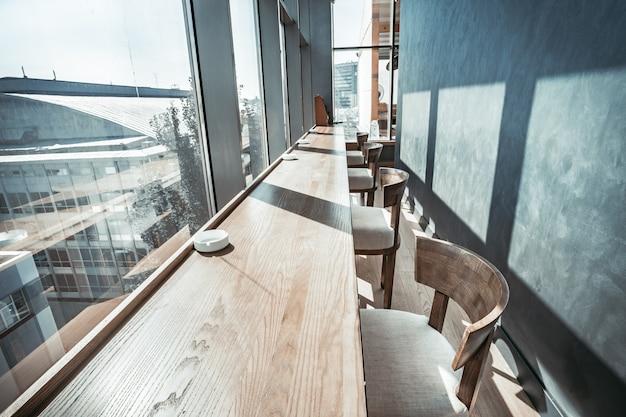Restaurant interior with panoramic view.