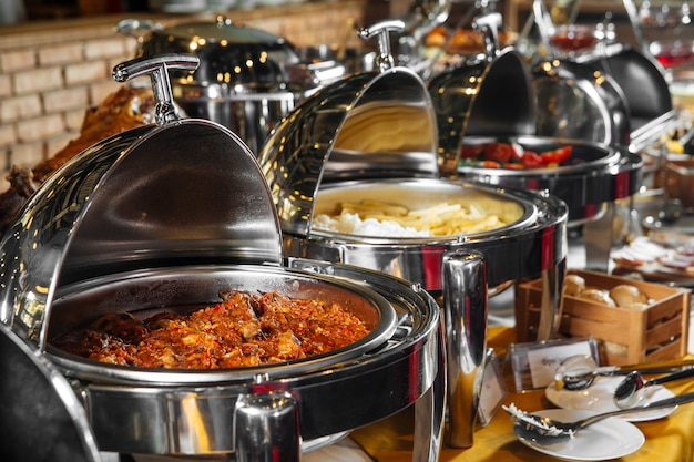 Restaurant lunch catering buffet with different dishes