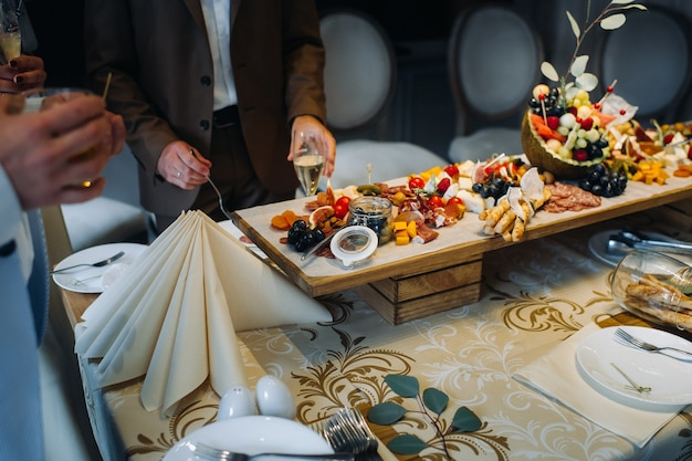 Restaurant service. restaurant table with food at the event.snacks on the table.catering.