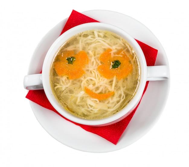 Restaurant serving dish for child menu - noodles soup with face