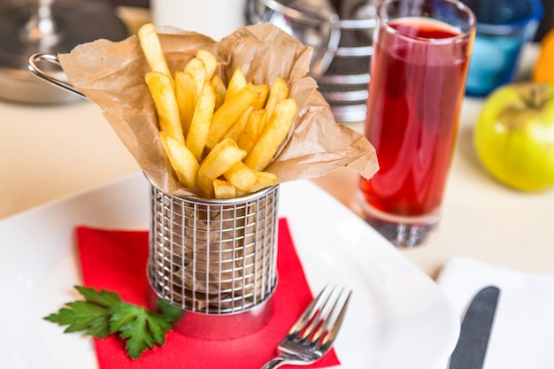 Restaurant serving dish for child menu - stick potatos roast free