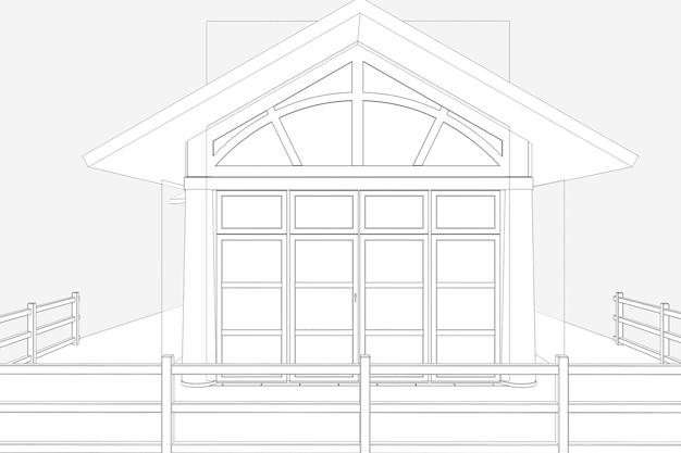 Ресторан летняя терраса 3d иллюстрации эскиз наброски