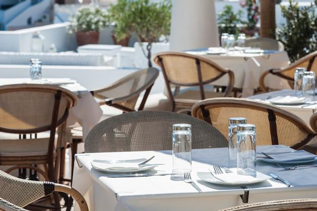 Restaurant in the sun of santorini island