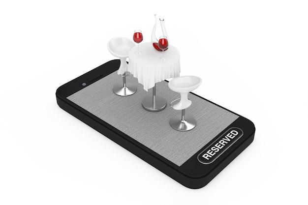 스마트폰 휴대 전화에 레드 와인과 흰색 바탕에 예약 된 버튼 레스토랑 테이블과의 자. 3d 렌더링