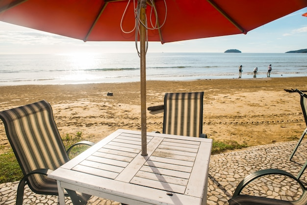 Restaurant table at the beach
