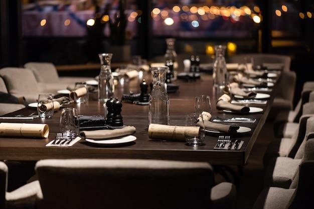 Restaurant table setting for dinner