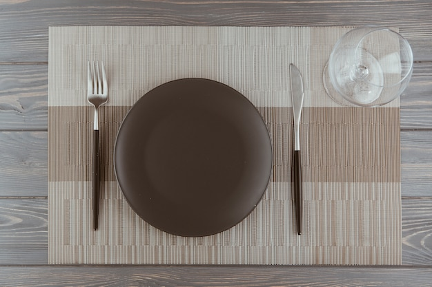Restaurant table with cutlery