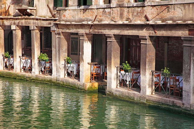 Restaurant on the water in venice