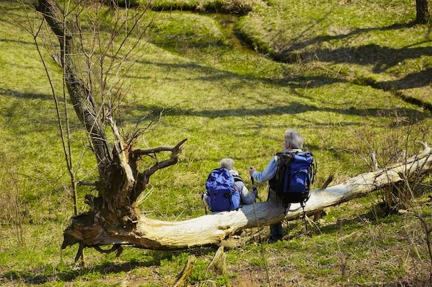 휴식. 화창한 날에 나무와 개울 근처 녹색 잔디밭에서 산책하는 관광 복장에 남녀의 세 가족 커플. 관광, 건강한 라이프 스타일, 휴식 및 공생의 개념.