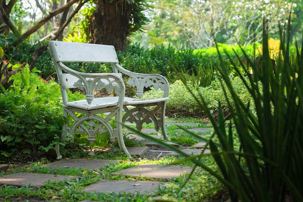 Resting place, white chair in the garden