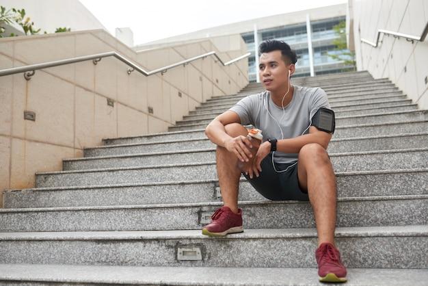 Resting sportsman
