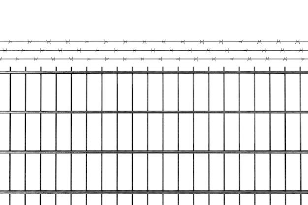 제한 구역 개념. 흰색 바탕에 철조망이 있는 금속 울타리. 3d 렌더링