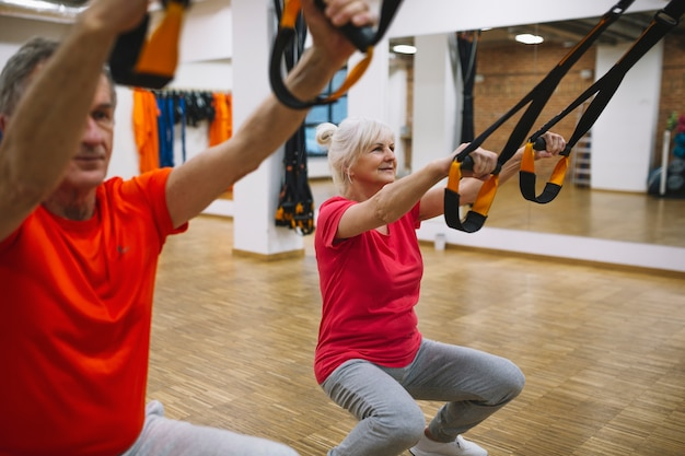 Retired couple doing exercise