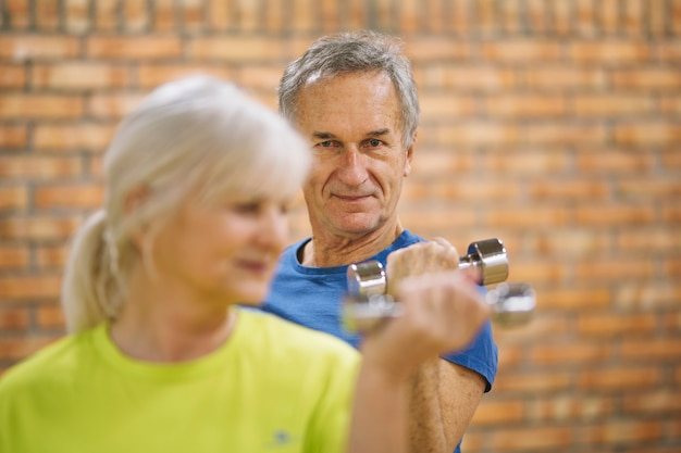 Retired couple working out