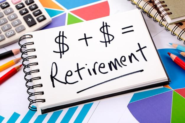 Retirement formula written on a notepad
