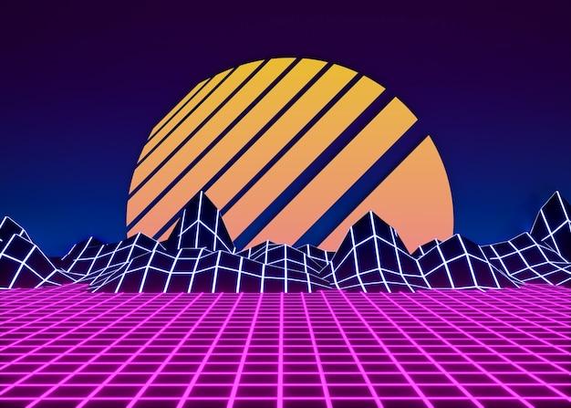Retro 3d shapes in vaporwave style
