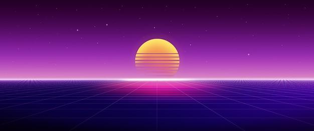 Футуристический пейзаж ретро 80-х с закатом и сеткой, абстрактная научно-фантастическая концепция. 3d-рендеринг.