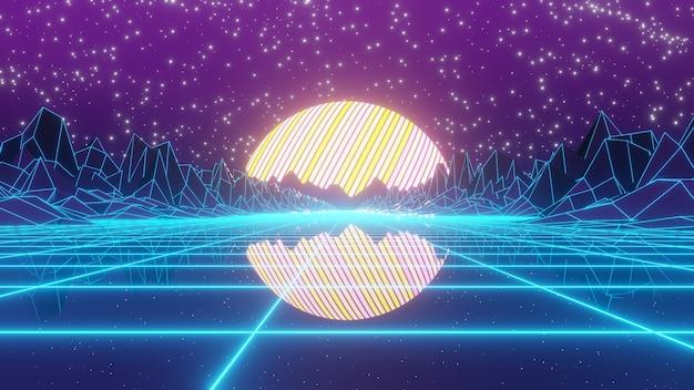 복고풍 80 년대 산 80 년대 복고풍 및 공상 과학 팝 아트 장면 광고 배경