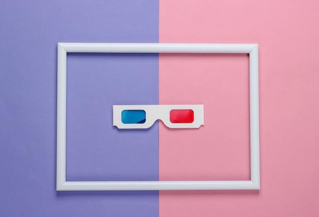 레트로 80 년대 종이 스테레오 3d 안경, 흰색 프레임 컬러 배경에 빨강-파랑 눈 필터. 컨셉 아트