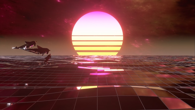 Retro 80s style. fly endlessly over the digital ocean. dolphins are jumping over the water. colorful retro sunset. 3d illustration