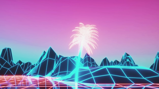 Retro 80s style synthwave sunrise with palm trees