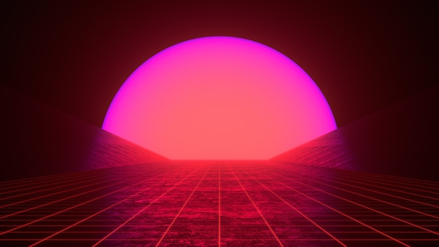 Retro 80s styled futuristic synthwave sunset landscape with purple red neon sun and perspective grid.