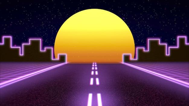 レトロな抽象的な背景、紫色の道路と都市。エレガントで豪華な80年代、90年代スタイルの3dイラスト