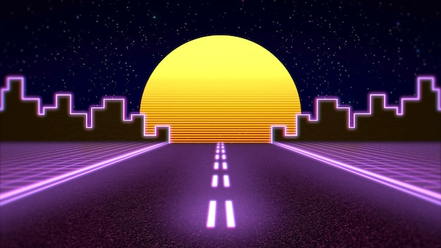 Retro abstract background, purple road and city. elegant and luxury 80s, 90s style 3d illustration