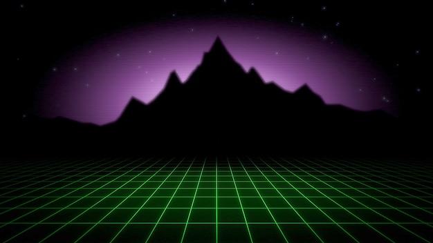Ретро абстрактный фон, красная сетка и гора