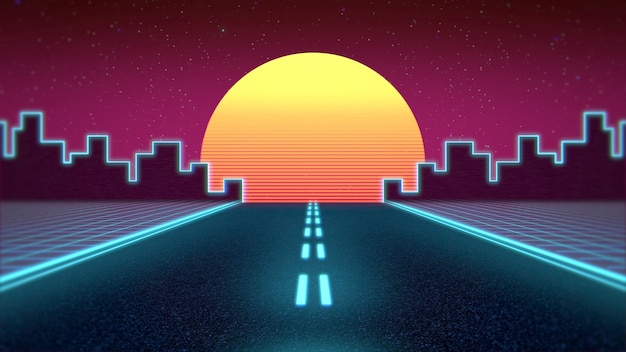Retro abstract background, red road and city. elegant and luxury 80s, 90s style 3d illustration