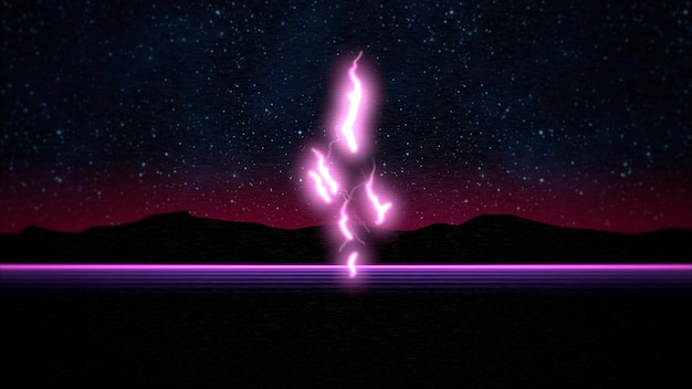 Retro abstract background, thunderbolt and mountain. elegant and luxury 80s, 90s style 3d illustration
