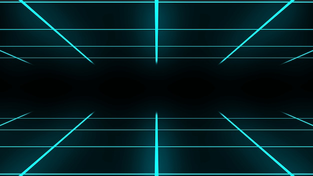 Retro abstract neon grid loopable animation in cyan color. 80s style 4k