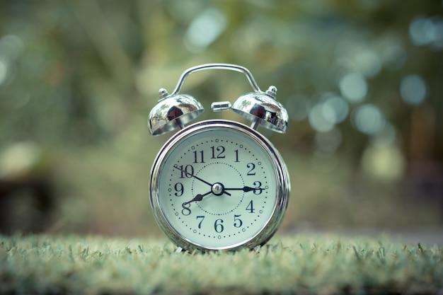 Retro alarm clock on green grass. time concept
