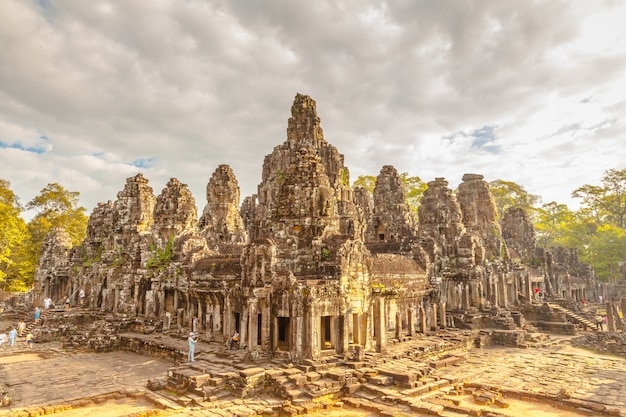 Retro ancient castle in cambodia call bayon, angkot thom