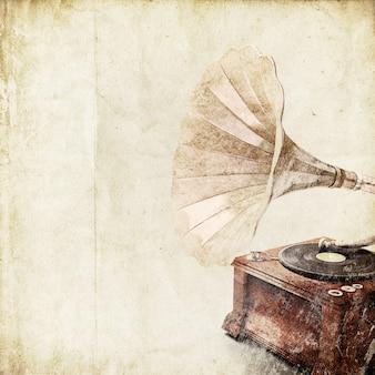 古い蓄音機とレトロな背景