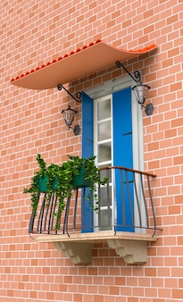 Retro balcony with flowers and light blue shutters. 3d illustration