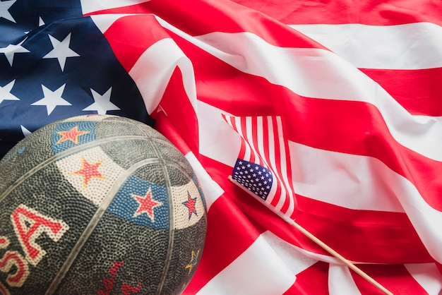 Retro basketball on crumpled american flag
